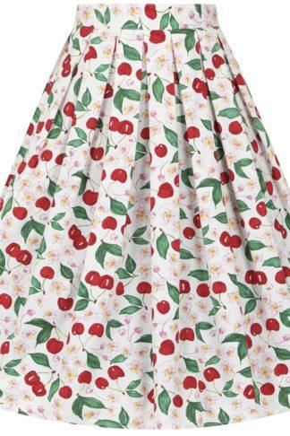 Hell Bunny Yvette 50's Skirt Mittellanger Rock weiß