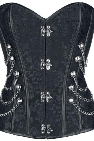 Ocultica Punk/Gothic-Corsage aus Brokat Korsage schwarz