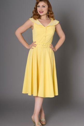 Sheen Clothing Diner Kleid Freda mit Blumen, gelb von Rockabilly Rules