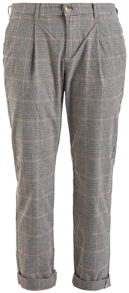 Sublevel Ladies Check Trousers Chino schwarz/beige