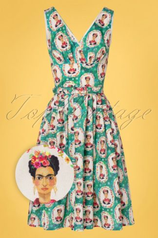 TopVintage Exclusive ~ 50s Frida Stella Swing Dress in Green