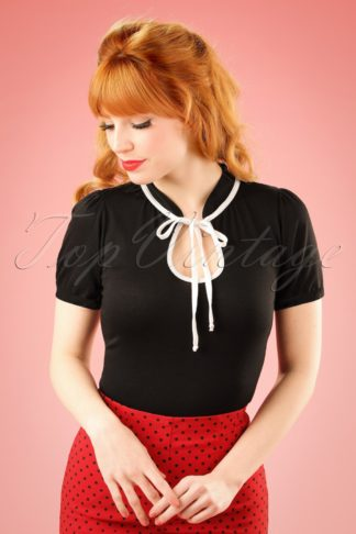 TopVintage Exclusive ~ 50s Keyhole to my Heart Top Black