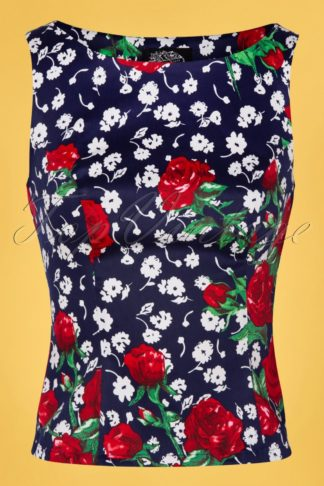 TopVintage exclusive ~ 50s Vivid Floral Top in Navy
