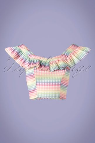 Unreal Redheads Collaboration ~ 50s Gingham Crop Top in Multi