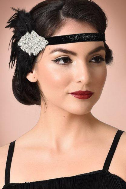 20s Gladys Coque Feather Headband in Black