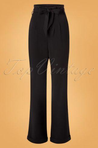 40s Myrna Paper Bag Trousers in Black