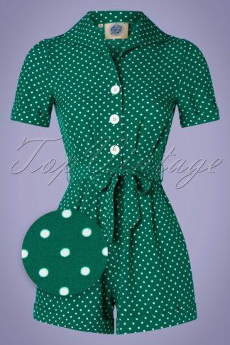 40s Pretty Polkadot Playsuit in Emerald
