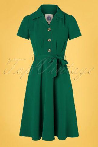 40s Pretty Shirt Dress in Emerald