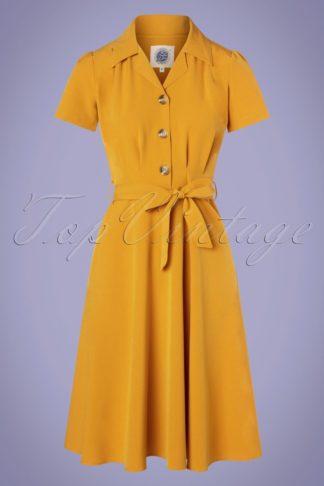 40s Pretty Shirt Dress in Mustard