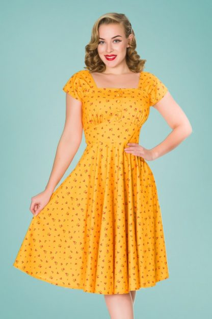 50s Aaliyah Flower Swing Dress in Yellow