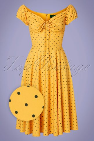 50s Amerie Dot Swing Dress in Yellow