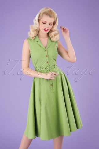 50s Caterina Sleeveless Swing Dress in Pear Green