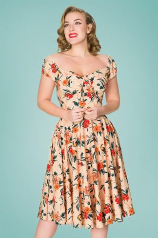50s Clara Floral Swing Dress in Peach Pink
