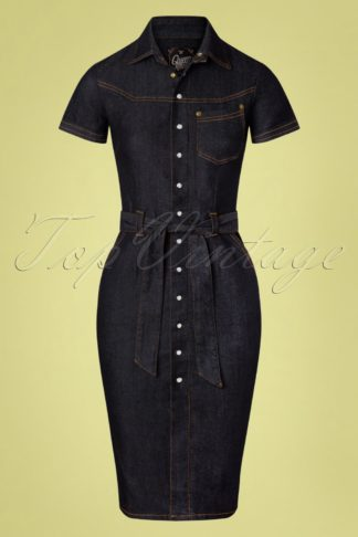50s Damen Denim Pencil Dress in Dark Blue