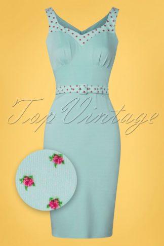50s Edwige Regina Pencil Dress in Light Blue