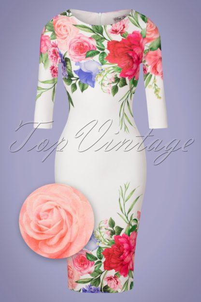 50s Fenna Flower Pencil Dress in Ivory