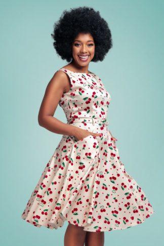 50s Hepburn Cherry Love Swing Dress in Cream