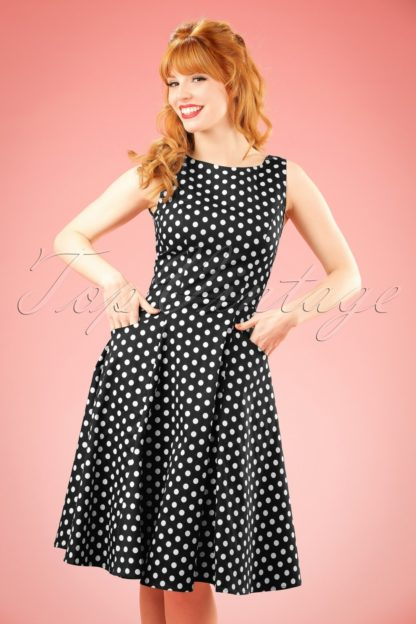 50s Hepburn Polkadot Doll Dress in Black and White