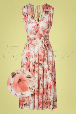 50s Jane Floral Swing Dress in Ivory and Pink