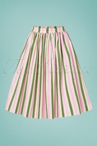50s Jasmine Strawberry Striped Swing Skirt in Multi