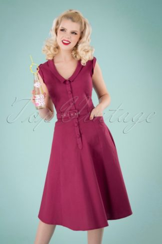 50s Leonie Swing Dress in Raspberry