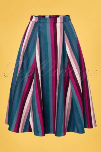 50s Matilde Paradise Stripes Swing Skirt in Multi