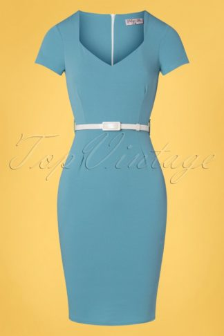50s Melany Pencil Dress in Pretty Blue