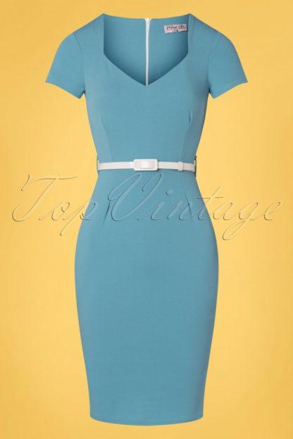 50s Melany Pencil Dress in Pretty Blue