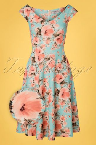 50s Merle Floral Swing Dress in Pale Turquoise