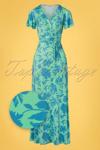 50s Milene Floral Cross Over Maxi Dress in Mint and Blue