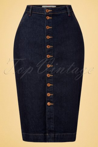50s Mona Denim Pencil Skirt in Classic Blue