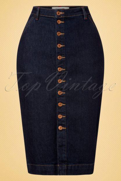 50s Mona Denim Pencil Skirt in Classic Blue