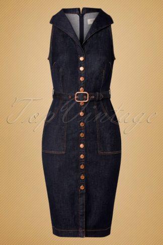 50s Nikki Denim Pencil Dress in Classic Blue