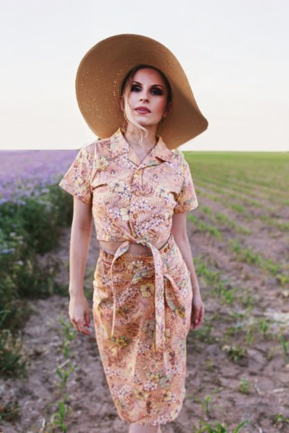 50s Oldschool Tropical Blouse in Coral