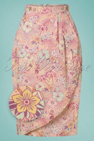 50s Oldschool Tropical Pencil Skirt in Coral