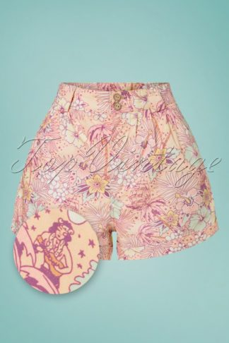 50s Oldschool Tropical Shorts in Coral