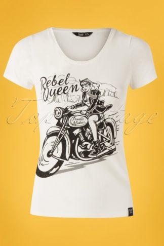 50s Rebel Queen T-shirt in Off-White