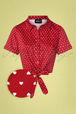 50s Sammy Love Hearts Tie Blouse in Red