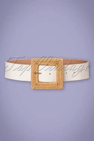 50s Summer Rattan Belt in White