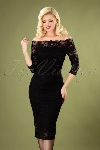 50s Vera Lace Pencil Dress in Black