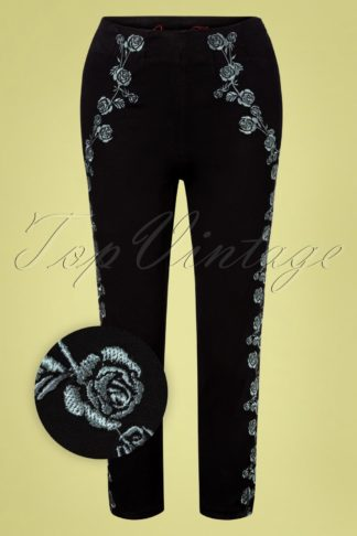 50s Vintage Roses Capri Pants in Black