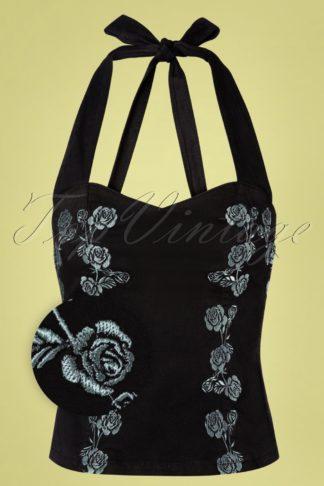 50s Vintage Roses Corsage Halter Top in Black