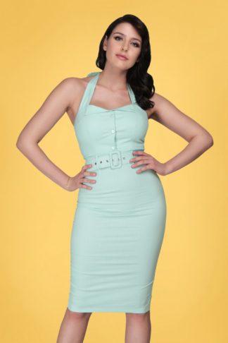 50s Wanda Pencil Dress in Light Blue
