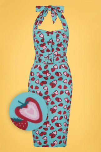 50s Wanda Strawberry Pencil Dress in Blue