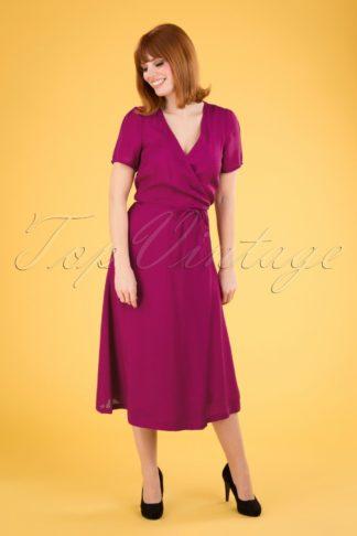 60s Beauvoir Wrap Dress in Sparkling Fuchsia