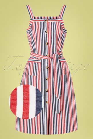 60s Beth Bellaria Stripes Pinafore Dress in Gardenia
