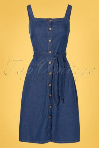 60s Beth Chambray Pinafore Dress in Summer Blue