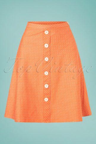 60s Button A-Line Denim Dots Skirt in Orange