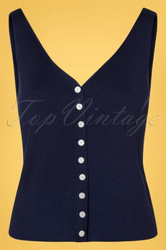 60s Buttoned Jumper Top in Navy