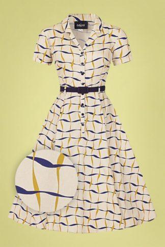 60s Caterina Ribbon Check Swing Dress in Cream
